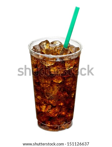 Cola with ice and straw in take away cup isolated on white background - stock photo