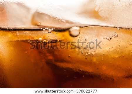cola with ice cubes close up image - stock photo