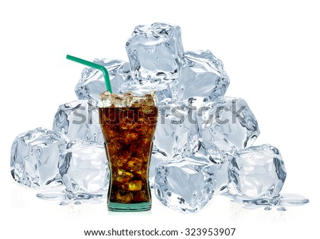 Cola with ice cubes isolated on white background - stock photo