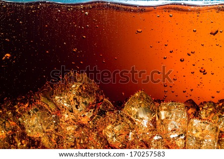 Cola with Ice. Food background - stock photo