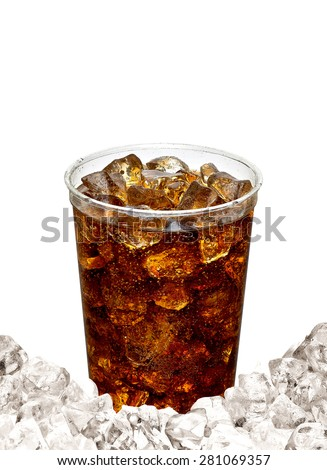 Cola with ice in takeaway cup isolated on white background with copy space - stock photo