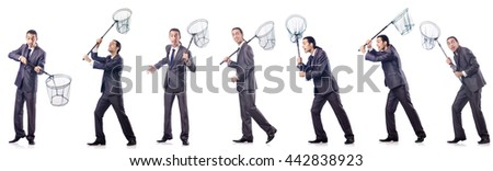 Colage of businessman with catching net on white - stock photo