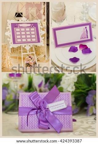 Colage of Table set for an event party or wedding reception. - stock photo