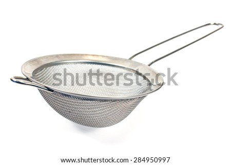 Colander isolated on a white - stock photo