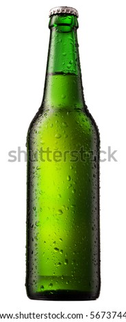 cold beer bottle with water droplets on surface - stock photo
