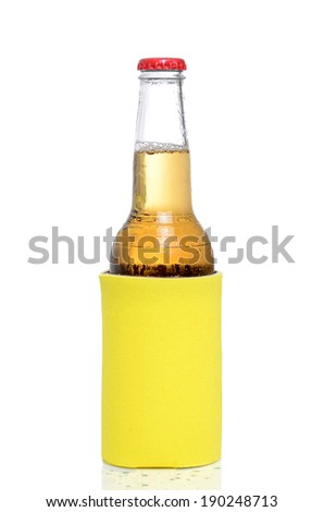 cold beer isolated white background - stock photo