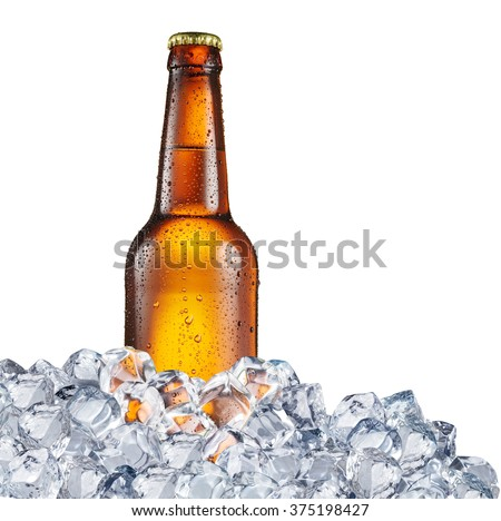 Cold bottle of beer in the ice cubes. File contains clipping paths. - stock photo