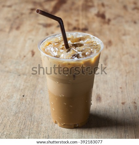 Cold Coffee On Wood - stock photo