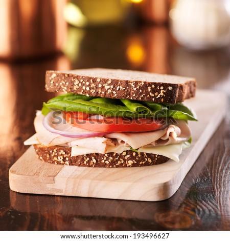 cold cut turkey deli meat sandwich - stock photo