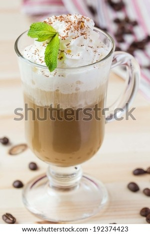 Cold drink, summer coffee with whipped cream, ice, chocolate, tasty - stock photo