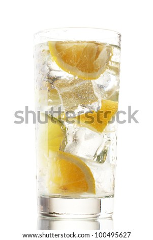 cold fresh lemonade isolated on white - stock photo