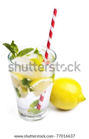 Cold fresh lemonade isolated on white - stock photo
