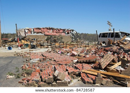 Cold front bringing tornadoes & straight line winds  Declared State of Emergency and federal disaster areas. - stock photo