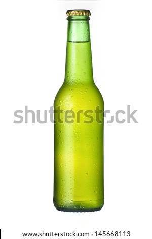 Cold frosted green beer bottle on white Background - stock photo
