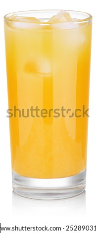 cold glass of fresh orange juice with ice isolated on white background with clipping paths - stock photo