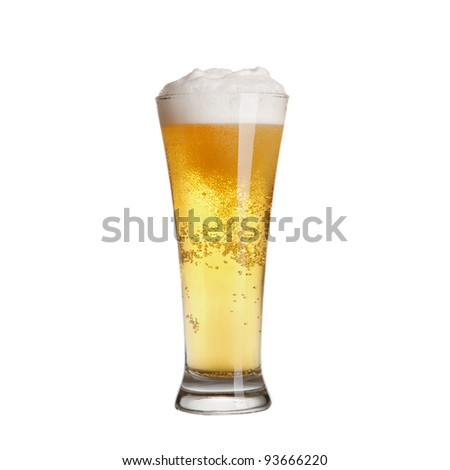 Cold lager beer in glass. Isolated on white background - stock photo