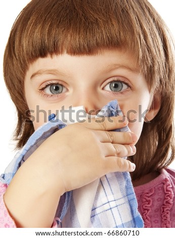 cold - little girl blowing her nose - stock photo