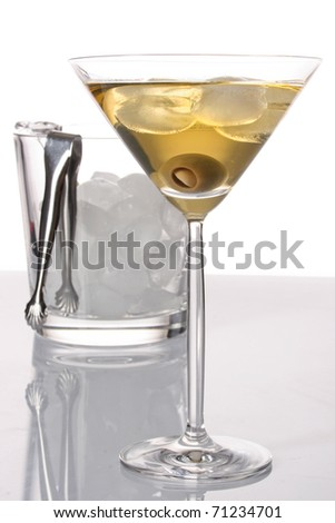 Cold martini with olives - stock photo