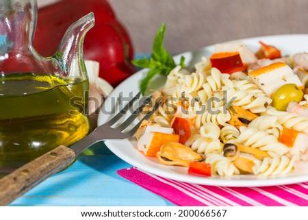 Cold Pasta Salad typical Mediterranean food - stock photo