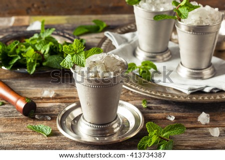 Cold Refreshing Classic Mint Julep with Mint and Bourbon - stock photo