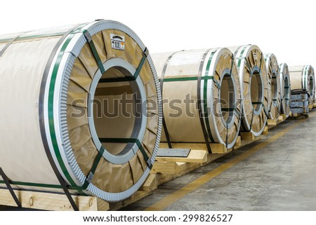 Cold rolled steel coils in package before on white with clipping path - stock photo