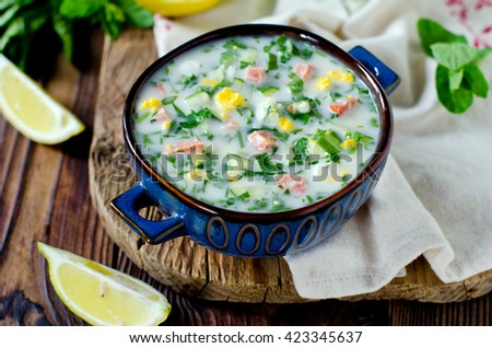 Cold summer soup - stock photo