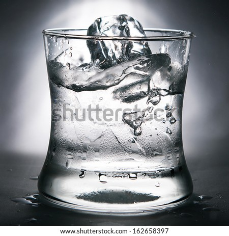 cold water with ice in a glass - stock photo