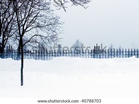 Cold windy freezing weather during the snow storm blizzard - stock photo