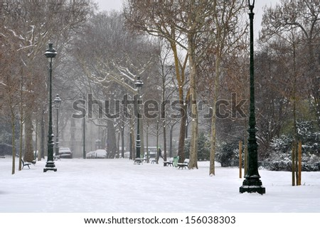 Cold winter day in a city - stock photo