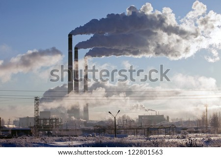 cold winter morning near the energy industries - stock photo