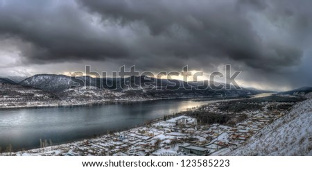 cold winter, the river Yenisei, Yenisei river in winter, winter in Siberia, Russia in the winter, a terrible winter, winter on the river - stock photo