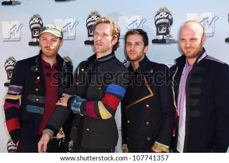 Coldplay  at the 2008 MTV Movie Awards. Gibson Amphitheatre, Universal City, CA. 06-01-08 - stock photo