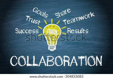 Collaboration - Business concept with light bulb and text on blue background - stock photo