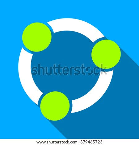 Collaboration Circle long shadow raster icon. Style is a flat light symbol with rounded angles on a blue square background. - stock photo
