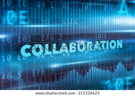Collaboration concept with blue background blue text - stock photo