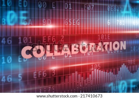 Collaboration concept with red background red text - stock photo