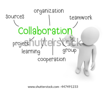 collaboration text ,business man writing collaboration concept ,Man explain components of collaboration  , 3d rendering - stock photo