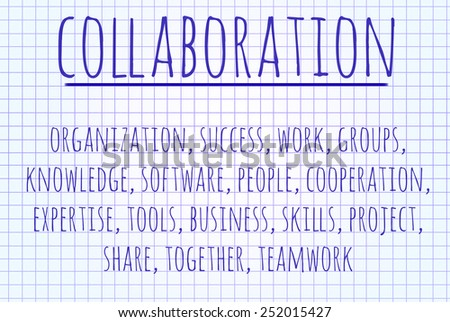 Collaboration word cloud written on a piece of paper - stock photo