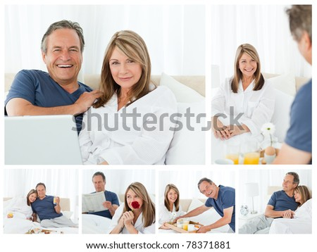 Collage a lovely couple enjoying moments together at home - stock photo