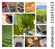 Collage about vineyards and viticulture in France - stock photo