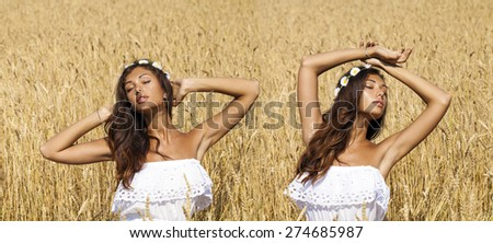 Collage, Beautiful sexy young women in white dress in a wheat golden field - stock photo
