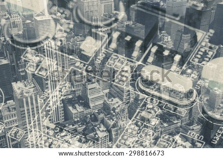 Collage - blending of two images: Aerial view of Midtown Manhattan (New York City)  and closeup view of computer motherboard. Edited as a old techno photo. All potential trademarks are removed. - stock photo