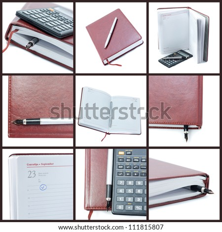 Collage business diary of the nine photos. - stock photo