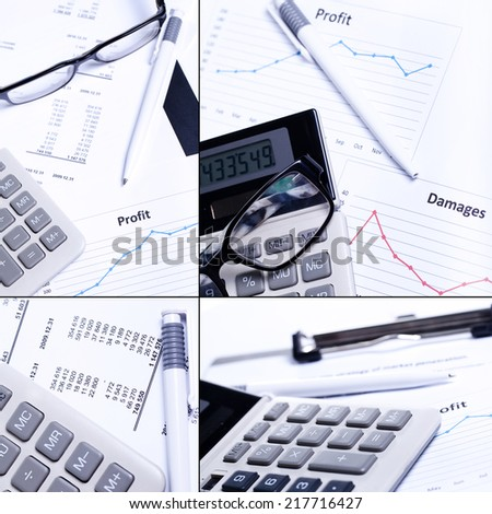 Collage. Calculator, graphs and diagrams on the table - stock photo