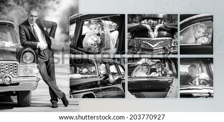 Collage - cheerful groom and the bride at a wheel of a black old retro of the car - stock photo