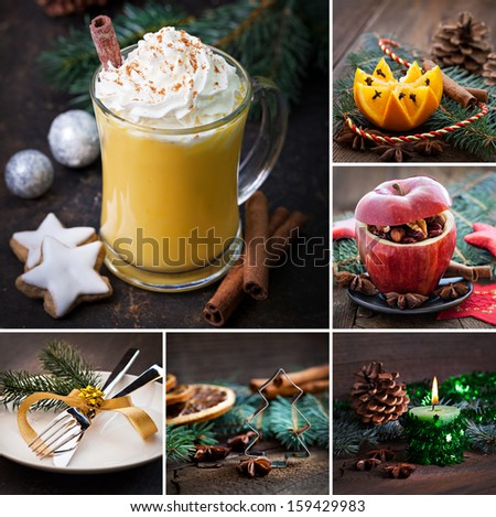 collage christmas rustic with eggnog - stock photo