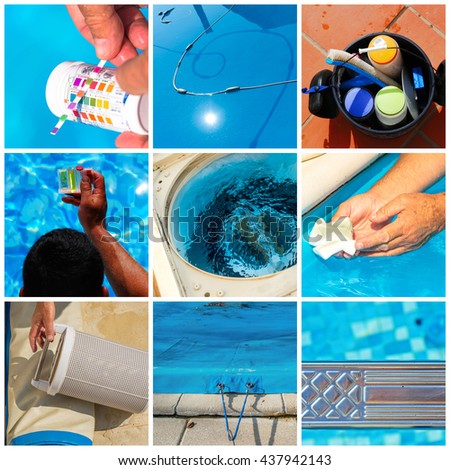 Collage close-up maintenance of a private pool - stock photo