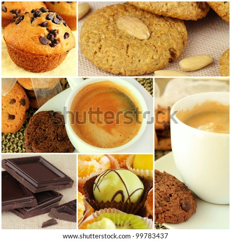 Collage - coffee and sweets - stock photo