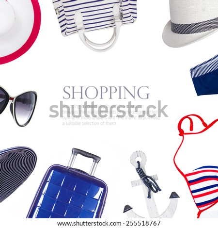 collage collection of summer clothes - stock photo
