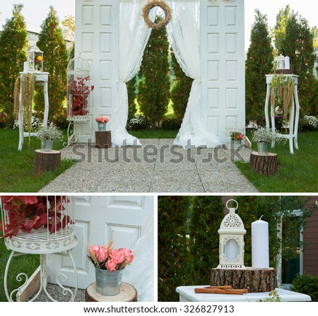 Collage collection of  wedding details from ceremony and reception.Beautiful wedding decorations - stock photo